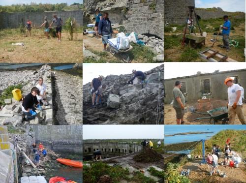 Mosaique de travaux sur l'île