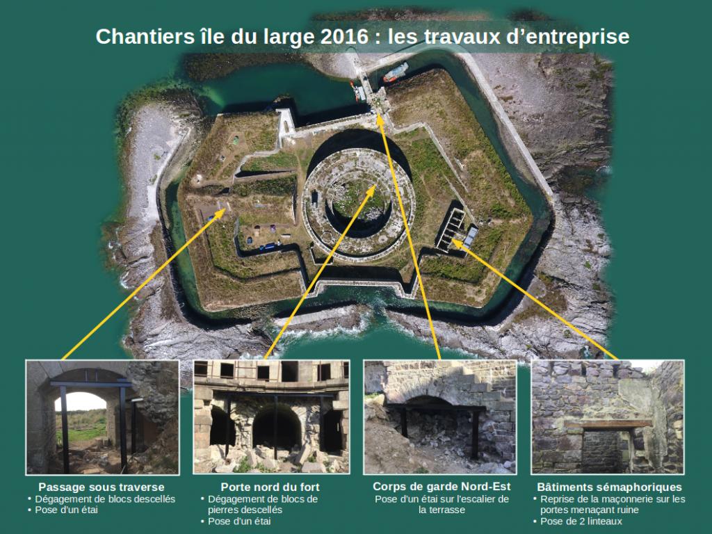 Cartographie des travaux réalisés par une entreprise durant les chantiers Ile du large Saint Marcouf 2016