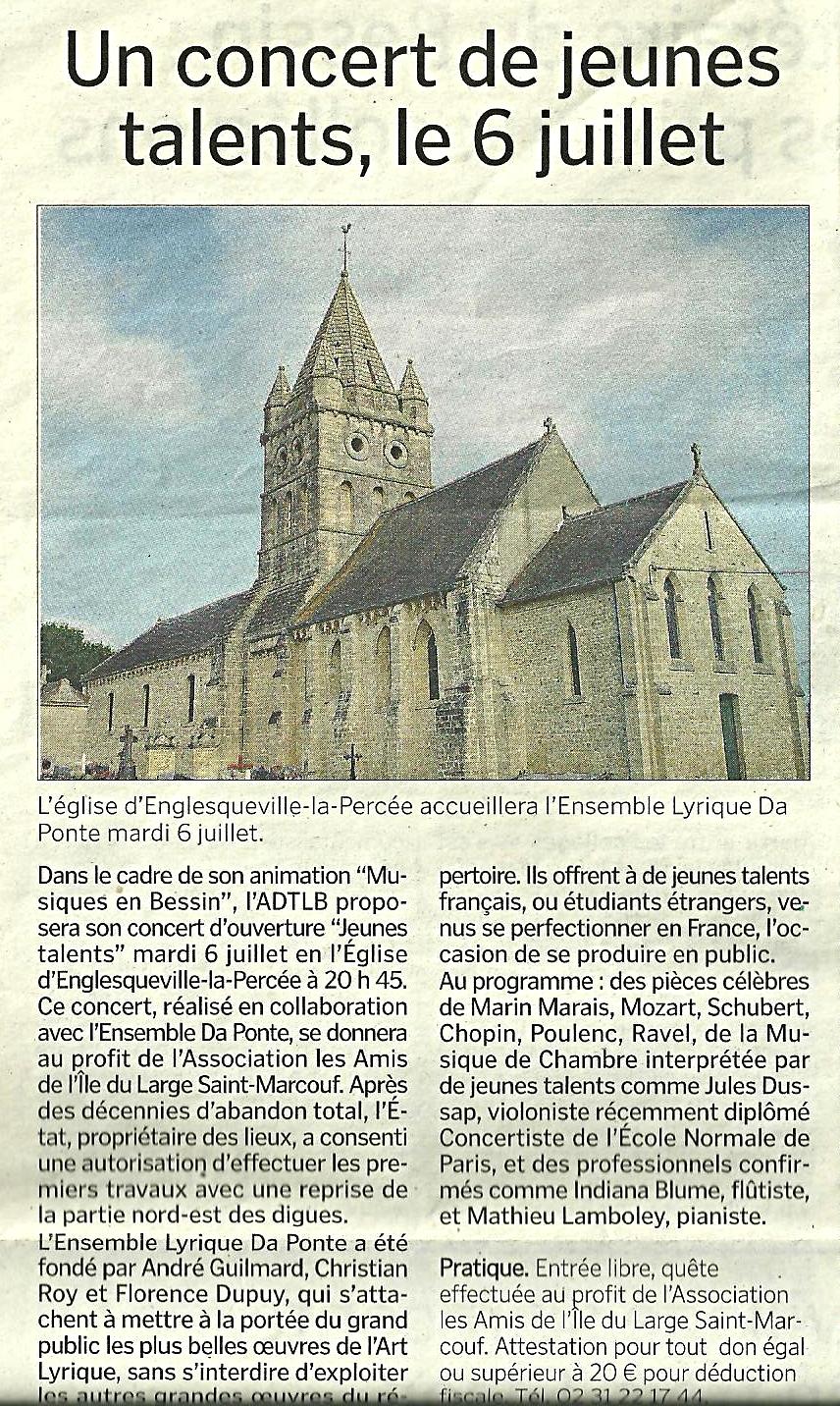 Article de presse : Un concert de jeunes talents le 6 juillet (La Manche Libre, 7 juillet 2010)