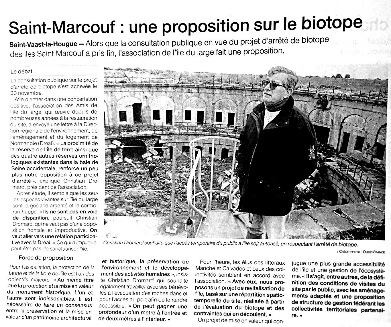 Article de presse : Saint-Marcouf : une proposition sur le biotope publié dans Ouest France le 20 décembre 2018