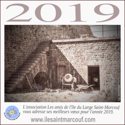 Carte de voeux de l'association Les amis de l'île du Large Saint-Marcouf