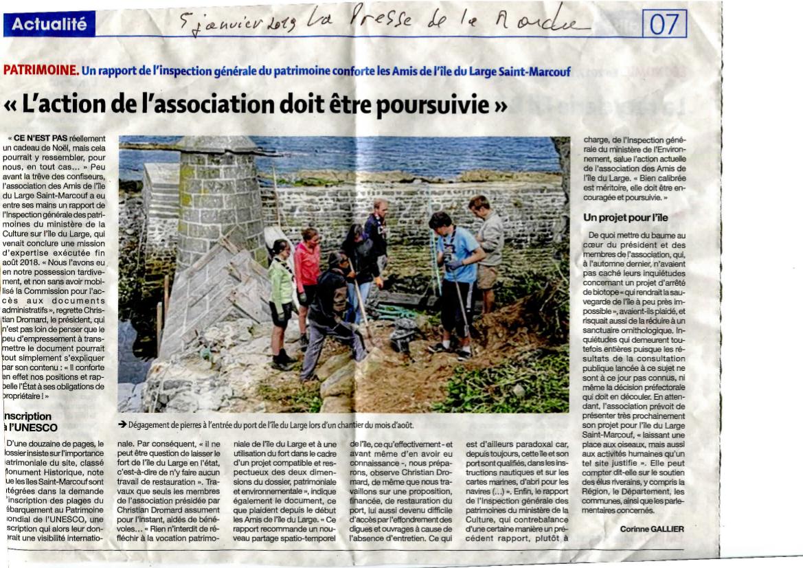 Article de la Presse de la Manche du 5 janvier 2019 au sujet du rapport favorable à l'association publié par l'inspection générale du Patrimoine.