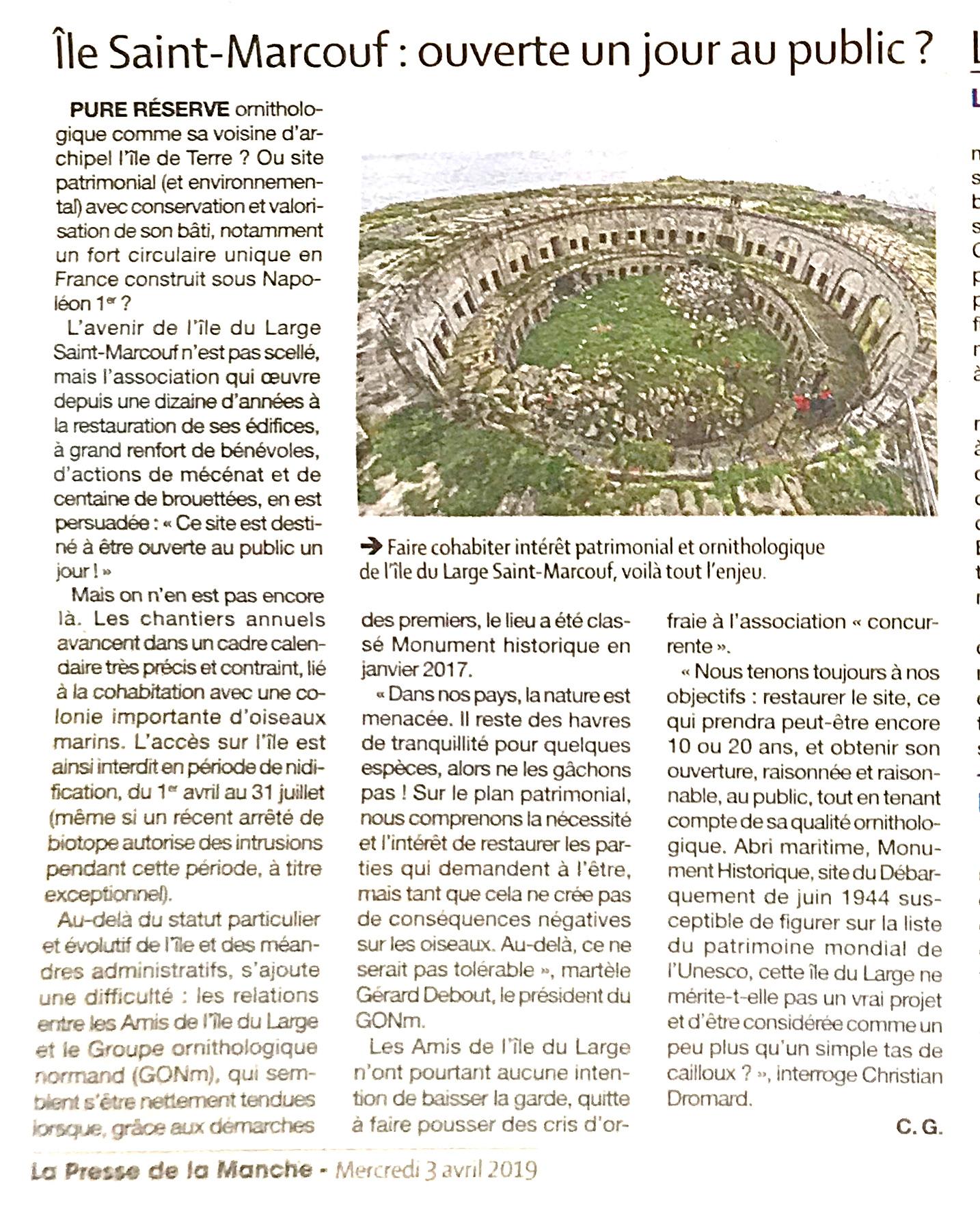Île Saint-Marcouf : ouverte un jour au public ? Article de La Presse de la Manche du 4 avril 2019