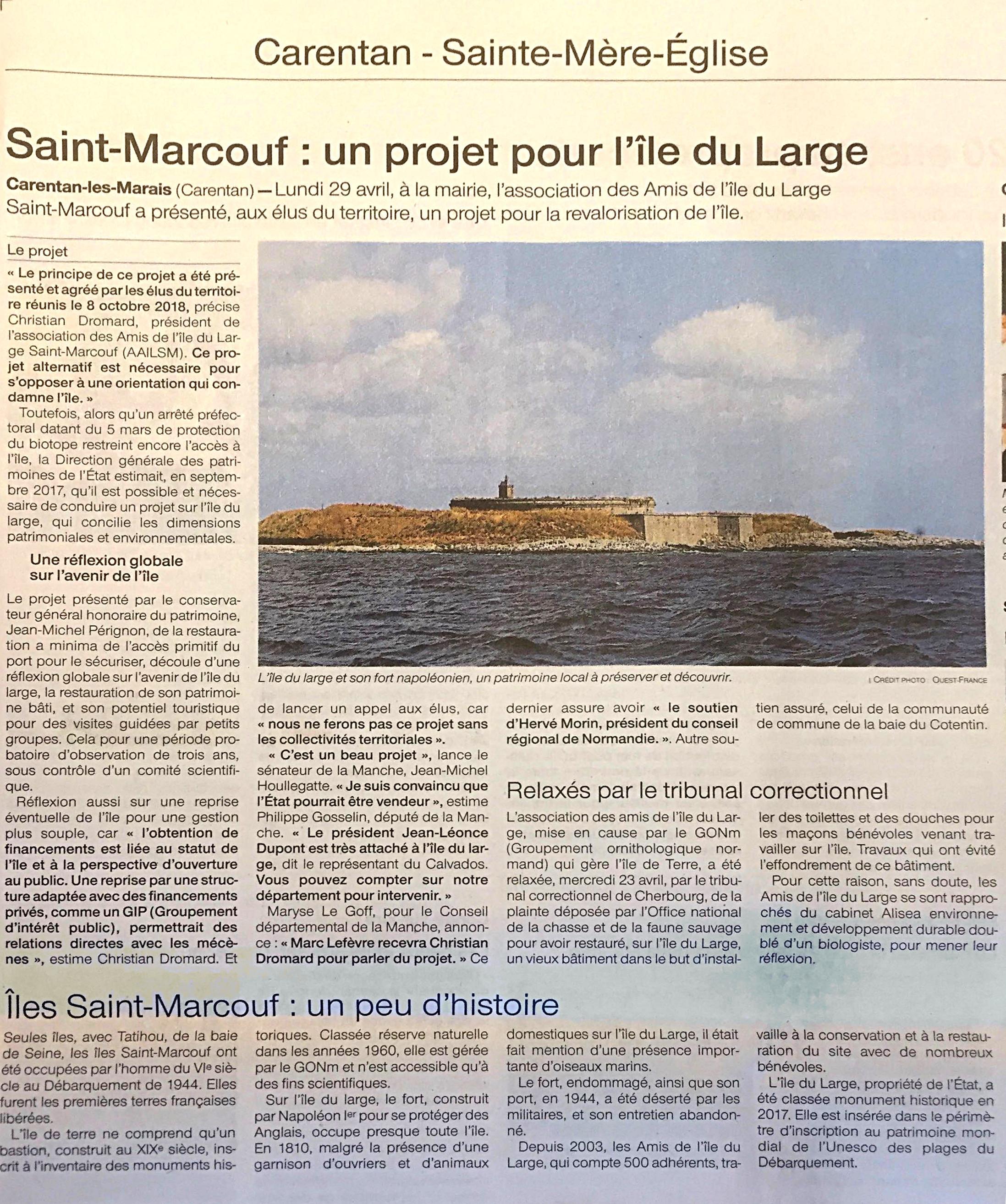 Saint-Marcouf : un projet pour l'île du Large : article paru dans Ouest France le 4 mai 2019