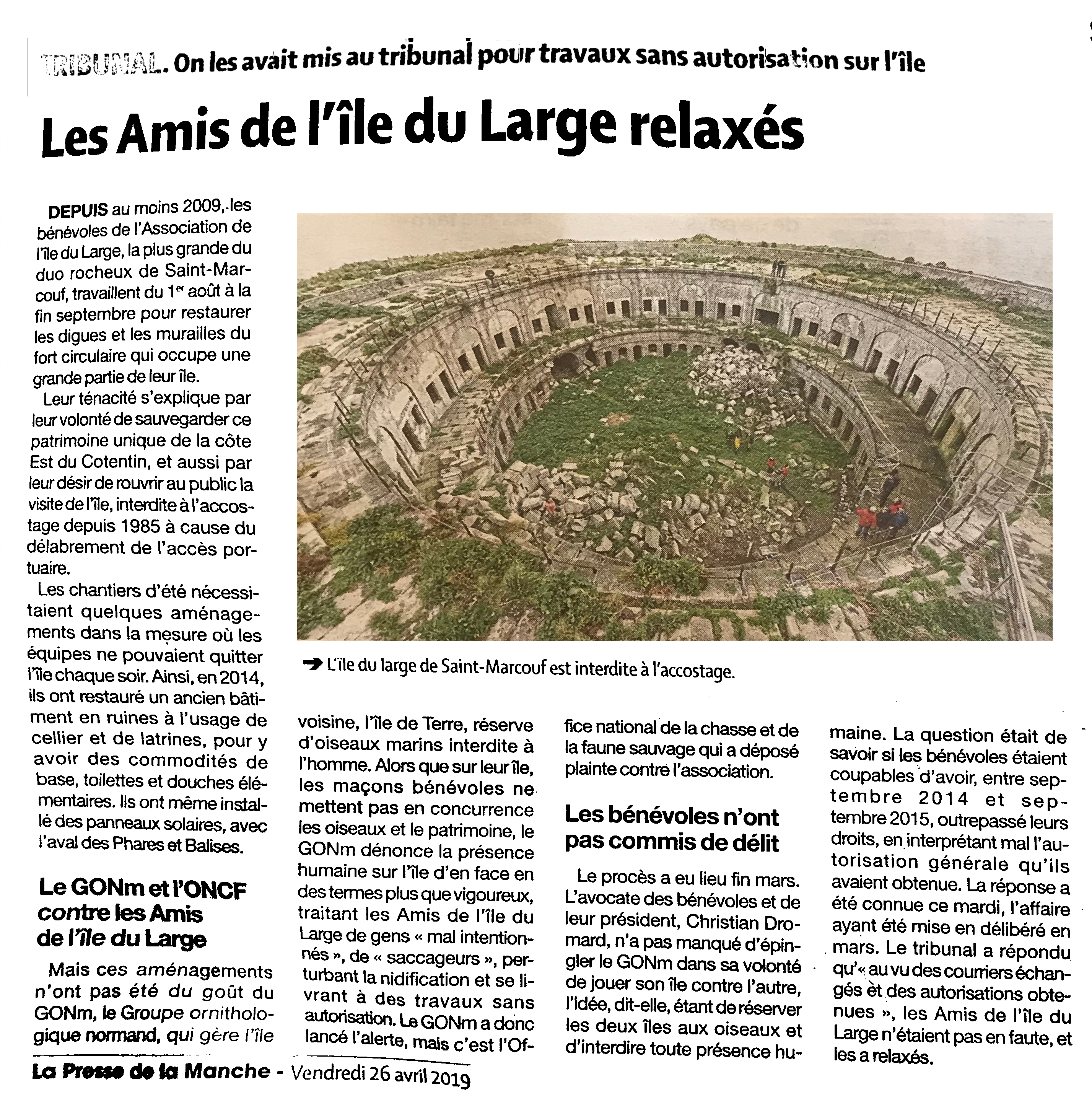 La Presse de la Manche 26 avril 2019 : Les Amis de l'île du Large relaxés