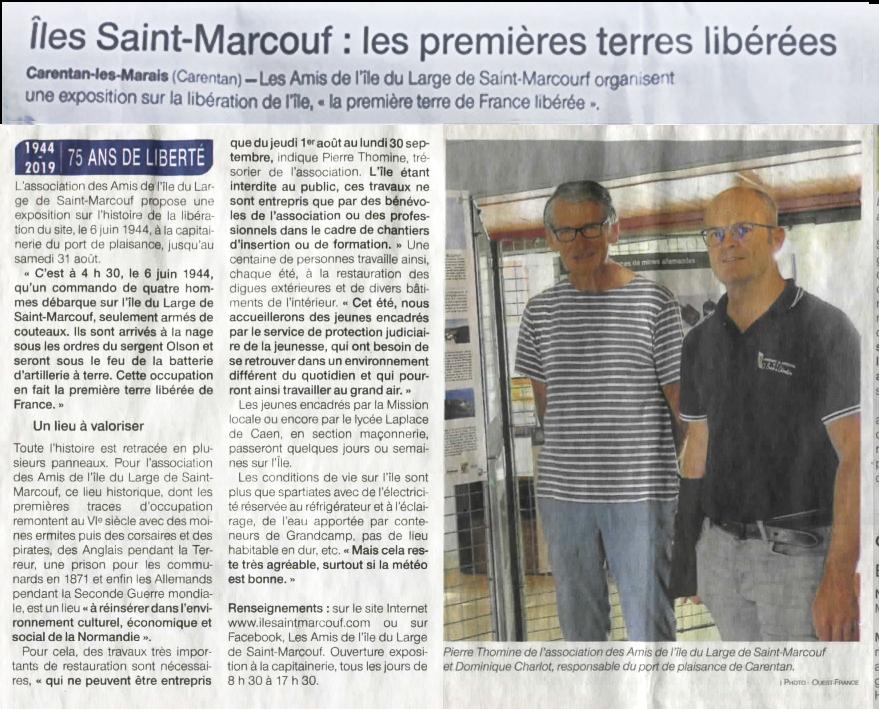 Saint Marcouf, les premieères terres libérées (articile de Ouest France du 27 juillet 2019)