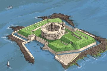Illustration de Antoine Rivallan de l'état de l'île après restauration